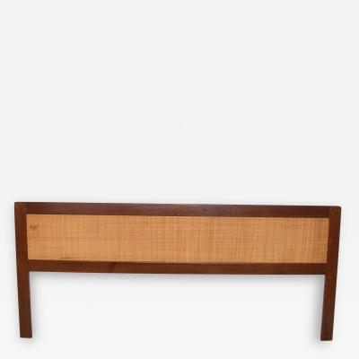 Falster Scandinavian Modern Sleek Teak Wood Cane Back KING Size Headboard 1960s Denmark