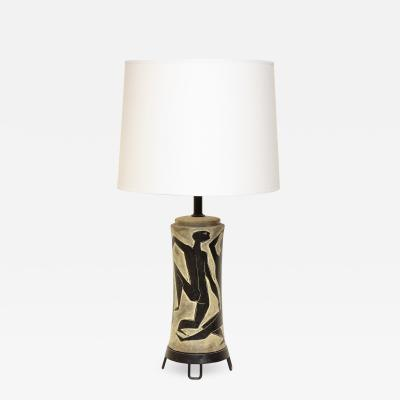 Fantoni Fantoni Table Lamp Ceramic with Incised Stylized Men Mid Century Modern 1950s