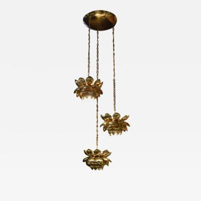 Feldman Lighting Co Brass Lotus Blossoms Pendant Chandelier