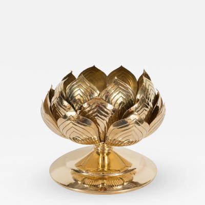 Feldman Lighting Co Etched Brass Lotus Candlestick by Feldman
