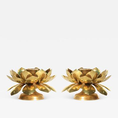 Feldman Lighting Co Feldman Brass Lotus Candle Holders in the Style of Parzinger