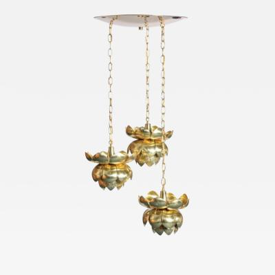 Feldman Lighting Co Feldman Triple Lotus Light Fixture Chandelier circa 1960