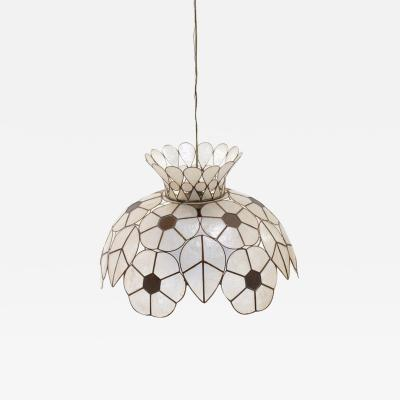 Feldman Lighting Co Feldman White Capiz Shell and Brass Floral Themed Pendant Light Pair Available