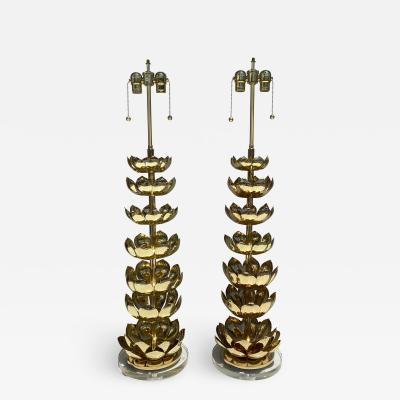 Feldman Lighting Co Pair of Brass Lotus Lamps