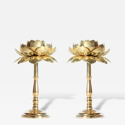 Feldman Lighting Co Rare Pair of Tall Brass Candle Sticks by Feldman circa 1960s