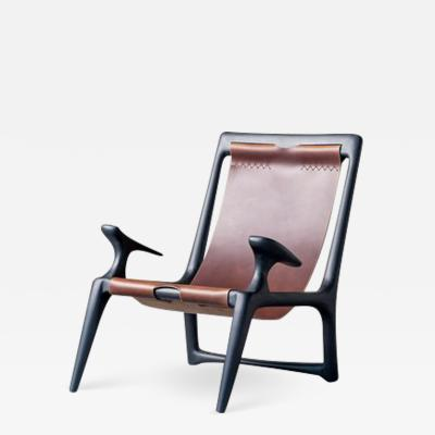 Fernweh Woodworking THE SLING CHAIR CHARCOAL ASH LEATHER