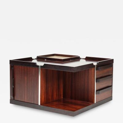 Fiarm Club table on wheels mahogany Fiarm Italy 70s