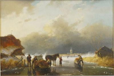 Figures on Frozen Lake Winter Landscape Painting Dutch 19th Century