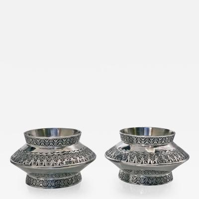 Finlay Taylor Pair of Antique Silver Moorish design Salts London 1890 Finlay Taylor