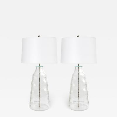 Flygsfors Pair of Large Clear Glass Lamps by Flygsfors Sweden