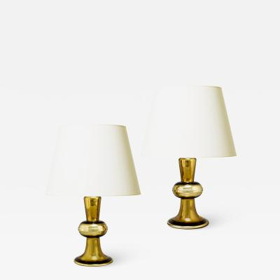 Flygsfors Stunning pair of Mod style table lamps in mirrored gold glass by Flygsfors