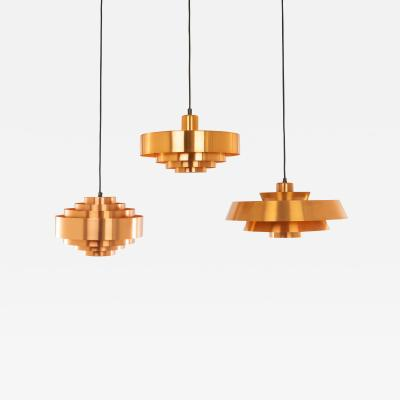 Fog M rup Copper Nova Ultra and Roulet pendants by Jo Hammerborg for Fog M rup 1960s