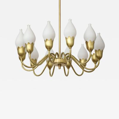 Fog M rup Danish Modern Brass White Tulip Globe Chandelier
