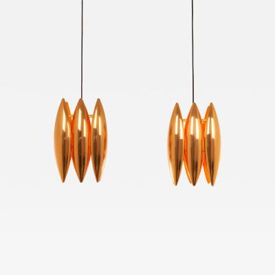 Fog M rup Pair of copper Kastor pendants by Jo Hammerborg for Fog M rup 1960s