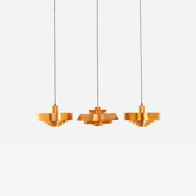 Fog M rup Set of Copper Pendants by Jo Hammerborg for Fog M rup 1960s