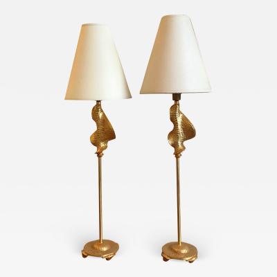 Fondica Fondica Awesome Pair of Gold Bronze desk Lamps Signed De Wael