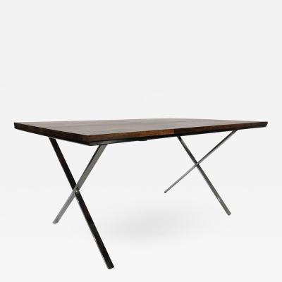 Founders Furniture Company Founders Solid Plank Rosewood and Chrome X Base Desk Table