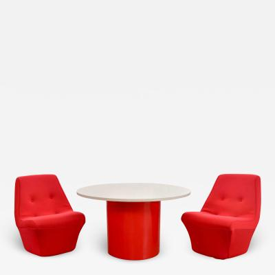 Founders Furniture Company Mid century modern round table 2 chairs by founders furniture in red white
