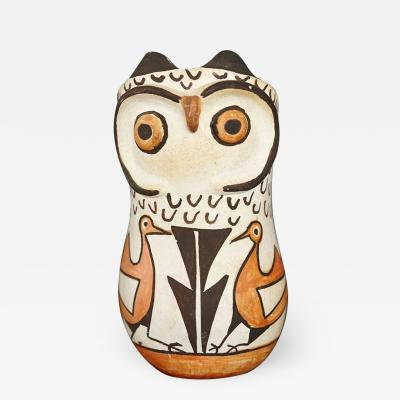 Frances Torivio Native American Acoma Polychromed Owl Jar by Frances Torivio circa 1960s