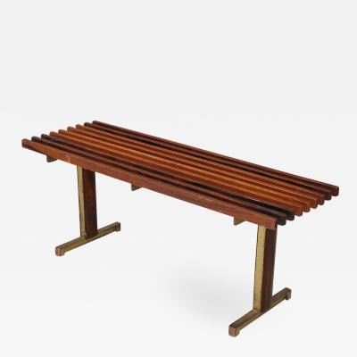 Franco Campo Carlo Graffi Bench by Carlo Graffi from 1950 in brass and walnut wood