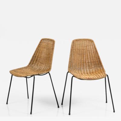 Franco Campo Carlo Graffi Wicker and Iron Chairs by Carlo Graffi et Franco Campo Ten Available