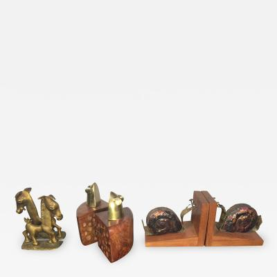 Frankart Inc THREE MODERN PAIR OF HORSE MICE AND SNAIL BOOKENDS PRICED PER PAIR