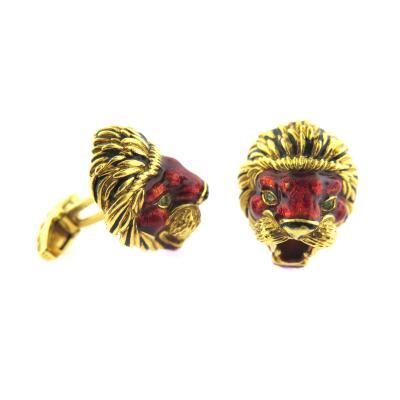 Frascarolo 1960s Frascarolo Enamel Lion Cufflinks