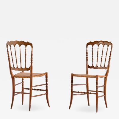Fratelli Zunino Rivarola Pair of Chiavari Chairs in Beech and Cane F lli Zunino Rivarola Italy 1950s