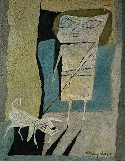 Fraydas MID CENTURY ABSTRACT WOMAN WITH DOG PAINTING SIGNED FRAYDAS