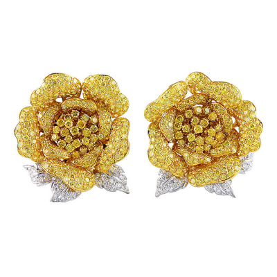 Fred Leighton Fancy Natural Yellow Diamonds en Tremblant Rose Earclips