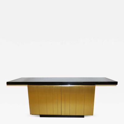 Frigerio Di Desio 1970 Frigerio Vintage Italian Black Gold Copper Freestanding Sideboard Console