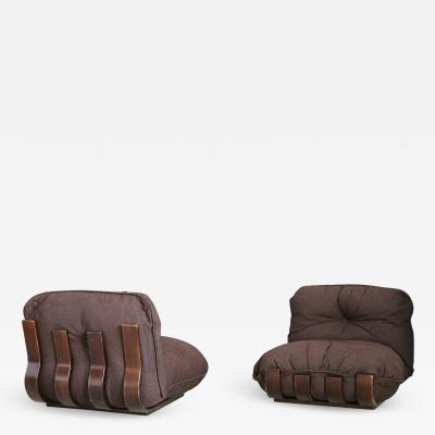 Frigerio Di Desio Pair of MidCentury armchair by Frigerio in Wood and Fabric 1970s