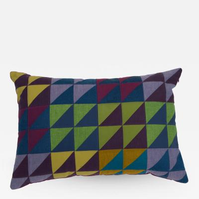 Full Circle Modern Original One of a Kind Rectangular Quilted Pillow in Green Blue and Lavender Cotton
