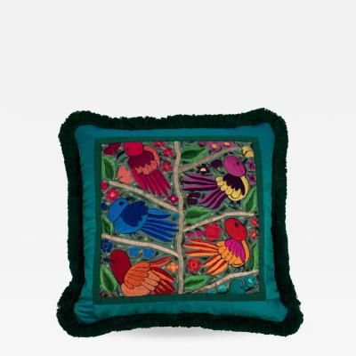 Full Circle Modern Original One of a kind pillow with green Guatemalan bird and flower embroidery