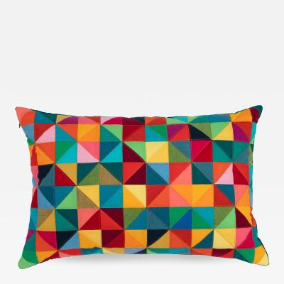 Full Circle Modern Original One of a kind rectangular quilted pillow in pink red orange green and blue