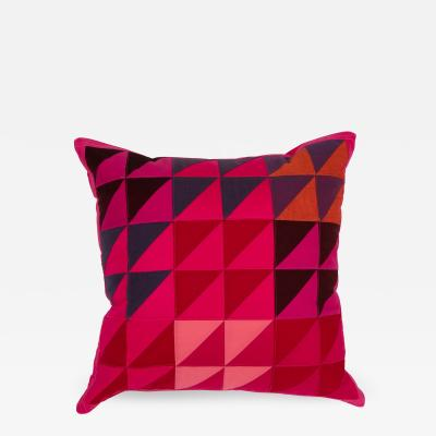 Full Circle Modern Original One of a kind square quilted pillow in pink red blue orange and brown cotton
