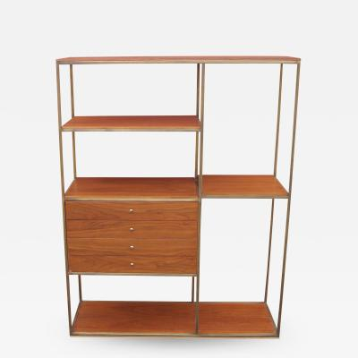 Furnette Inc Walnut and Brass Etagere by Furnette in the Style of Paul McCobb