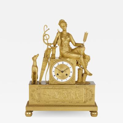 G Philippe Palais Royal French Empire period gilt bronze mantel clock