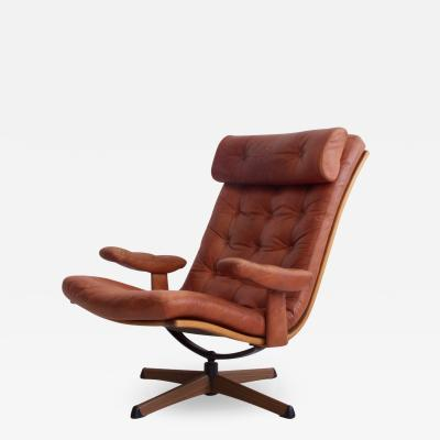 G te M bler N ssj Brown Leather Swivel Chair by G te M bler