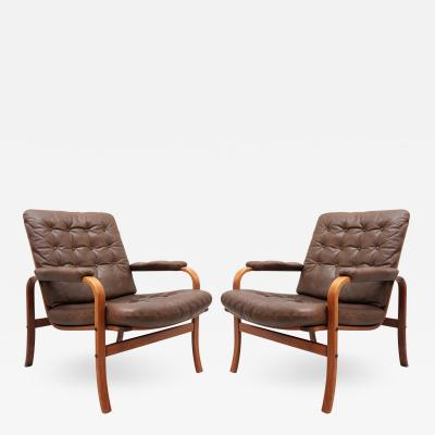 G te M bler N ssj Swedish Bentwood Leather Chairs by G te M bler N ssj