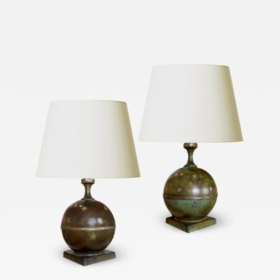GAB Guldsmedsaktiebolaget Duo of Table Lamps with Star Ornaments in Bronze by GAB