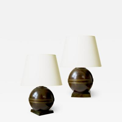 GAB Guldsmedsaktiebolaget Pair of Art Deco Table Lamps in Bronze by GBH