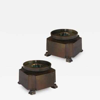 GAB Guldsmedsaktiebolaget Pair of Modern Classicism Footed Candle Holders by GAC