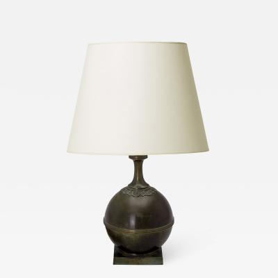 GAB Guldsmedsaktiebolaget Pair of Modern Classicism table lamps in bronze by GAB
