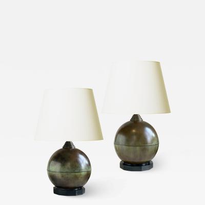 GAB Guldsmedsaktiebolaget Pair of Patinated Bronze Globe Art Deco Lamps by GAB