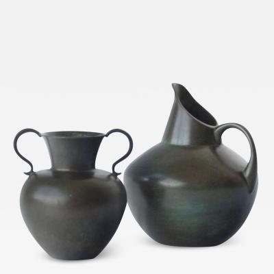 GAB Guldsmedsaktiebolaget Pair of Vases by GAB Bronce