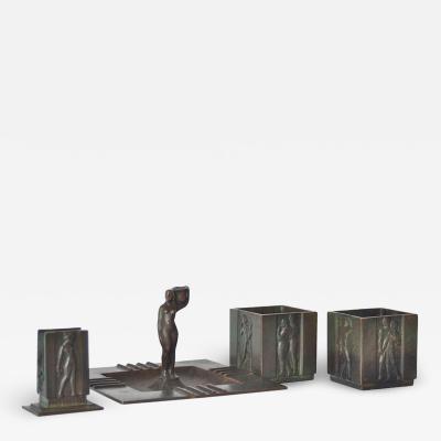 GAB Guldsmedsaktiebolaget Swedish Art Deco Smoking Set in Bronze by GAB