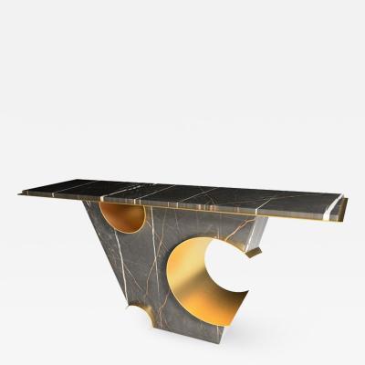 GRZEGORZ MAJKA LTD The Galactic 21st Century Sculpture Marble Brass Console Table by Grzegorz Majka