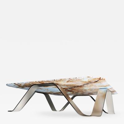 GRZEGORZ MAJKA LTD The Sinusoid Coffee Table feat Stainless Steel Marble by Grzegorz Majka