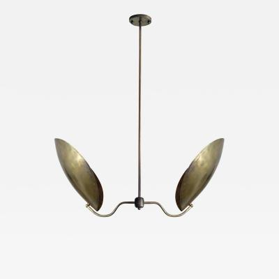 Gallery L7 Double Arm Raw Brass Chandelier Chiton